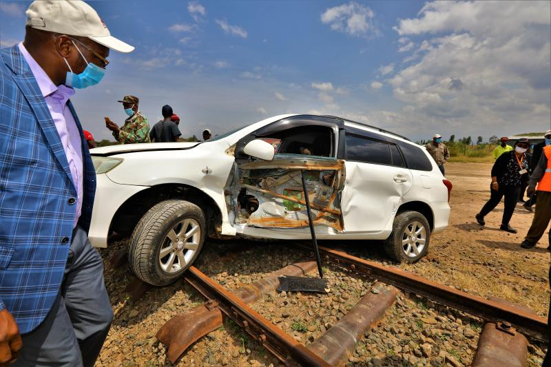 The driver of the car escaped unhurt after it was involved in an accident with a Kenya Railway train which was conducting a test run from Nanyuki to Nyeri in readiness for the resumption of the train