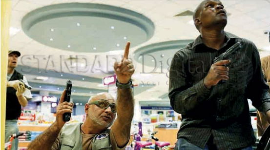 Licensed gun owners help rescue hostages and track down terrorists in Westgate Mall when it was attacked.