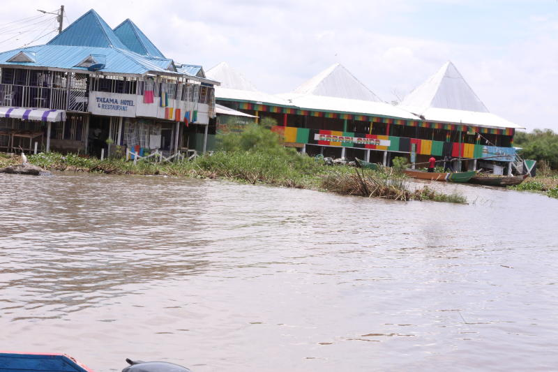 Some of the business premises at Dunga Beach in Kisumu County that have been affected by the rise of Lake Victoria waters. (Photo: Collins Oduor)