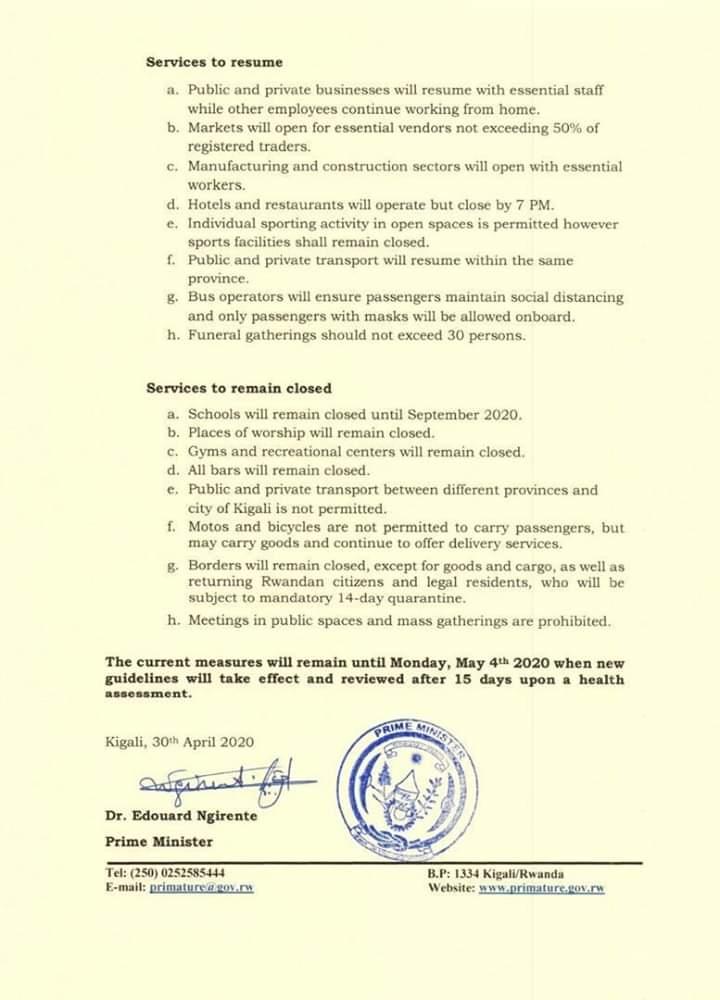Rwanda yaondoa 'Lockdown'