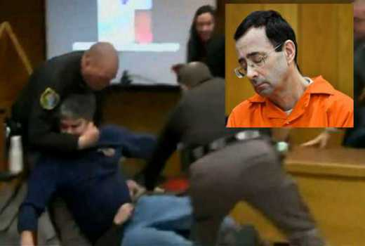 Nassar sentencing hearing halted as father lunges at disgraced doctor