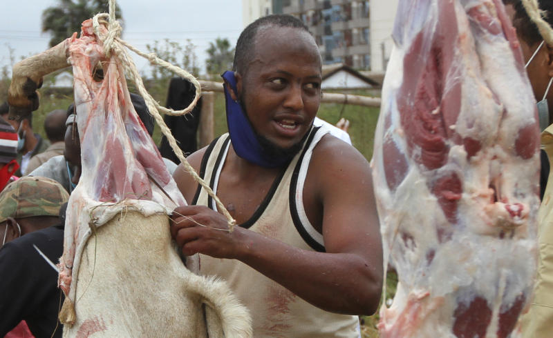 Goats being slaughtered at an open filed in South C, Nairobi as part of Eid-Ul-Adha celebrations (Photo: Elvis Ogina)