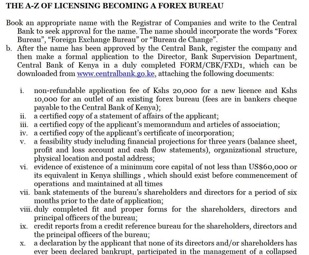 Central bank of kenya forex bureau guidelines for child kent nix investments