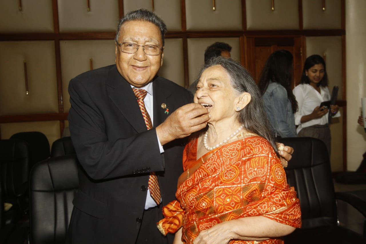 Businessman Manu Chandaria and his wife Aruna Chandaria after solemnising their marriage at Sheria House (Photo: Jenipher Wachie)
