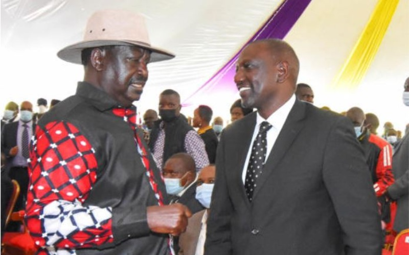 William Ruto consoles Raila Odinga after he tests positive for Covid-19