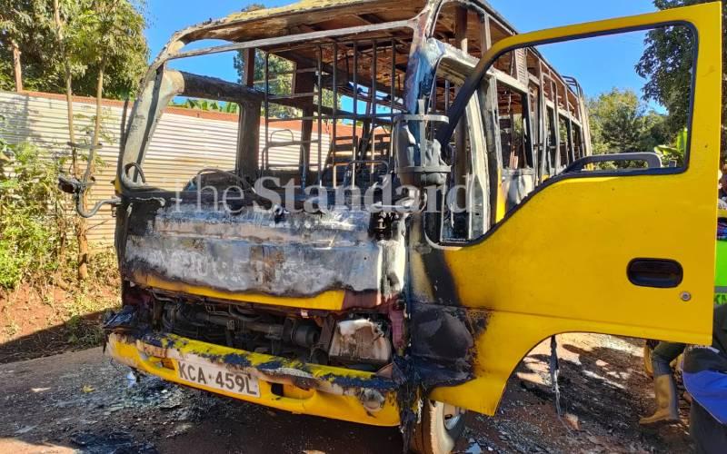 Boda boda operators torch school bus in Embu [Photos]