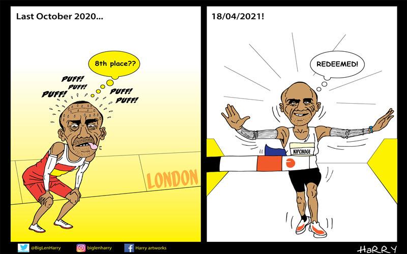 Editorial cartoon: Kipchoge Redeemed