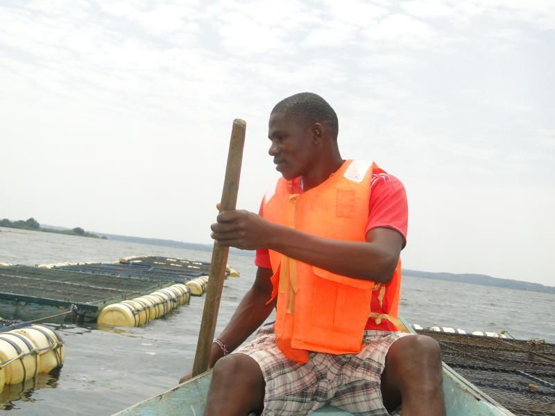Samwel Okinyi, a cage fish farmer in Anyanga beach, Siaya County. (Photo: Isaiah Gwengi).