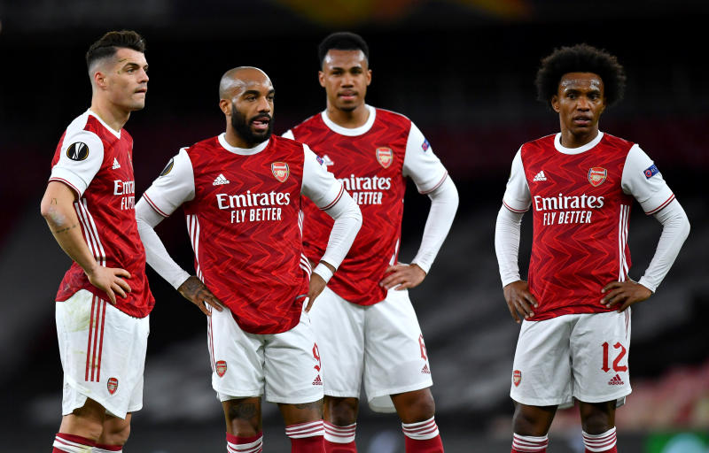 Five Arsenal players facing the exit door