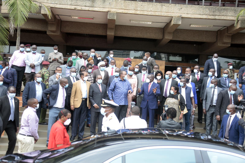 Jubilee Party Leader President Uhuru Kenyatta leaving after Jubilee Parliamentary Group Meeting at KICC, Nairobi (Photo: Boniface Okendo, Standard)