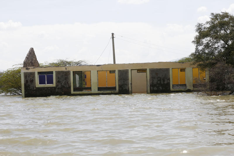 Some of the buildings submerged by rising Lake Baringo. (Photo:Kipsang Joseph/Standard)