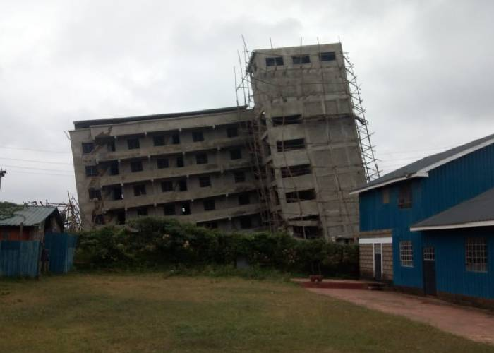 Leaning Kinoo building safely brought down