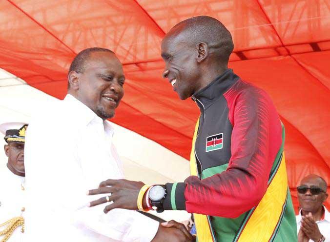 President Uhuru congratulates Eliud Kipchoge for winning Best Male Athlete award