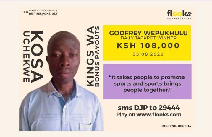 Godfrey Wepukhulu bags Sh108,000 Daily Jackpot from Flooks betting company