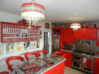 Coca-Cola obsessed mum transforms home into incredible red and white shrine to fizzy beverage