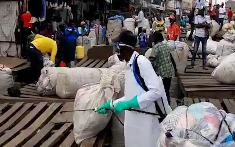 MANAGING CORONAVIRUS: Ministry of Health, Nairobi County officials fumigating Gikomba market