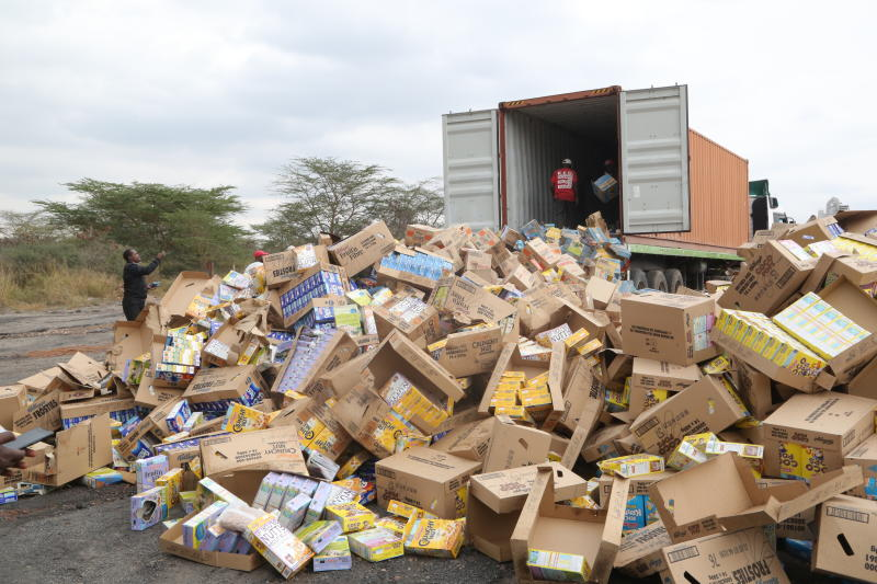 Some of contraband and anti-counterfeit goods that are to be crushed and destroyed by multi agency officials in Athi river. [Willis Awandu/Standard]