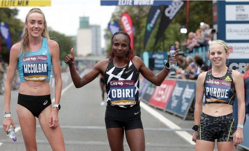 Athletics: Hellen Obiri wins the Great North Run women's half marathon in the UK