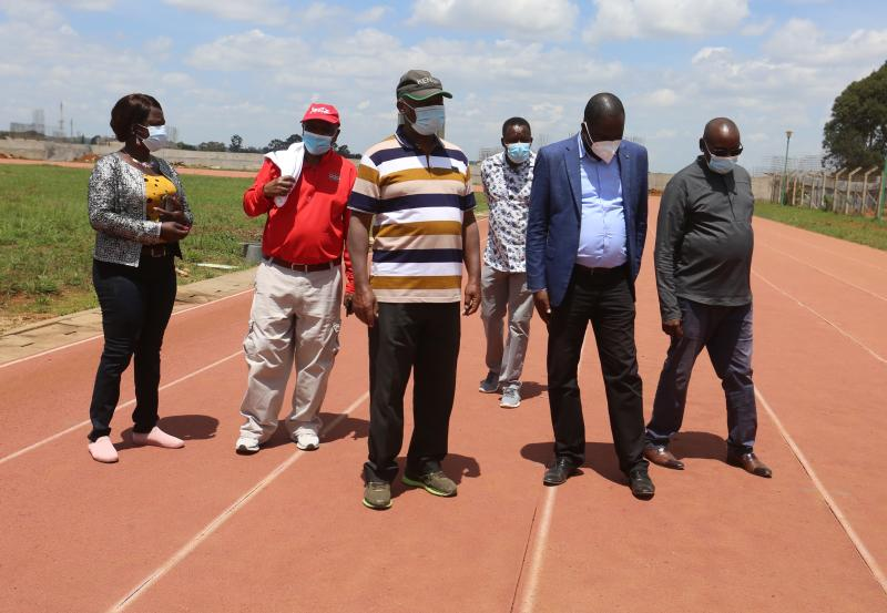 Athletics Kenya officials inspect state of Kipchoge Keino Stadia
