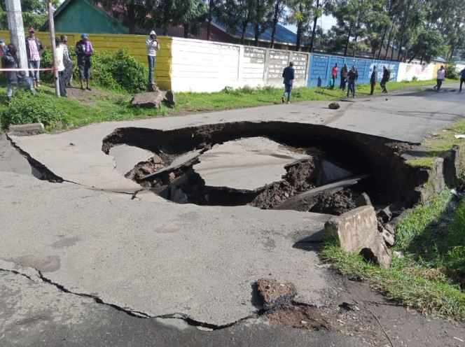 A section of John Momanyi road that caved in following heavy in Nakuru Town. (Photos: Kennedy Gachuhi)