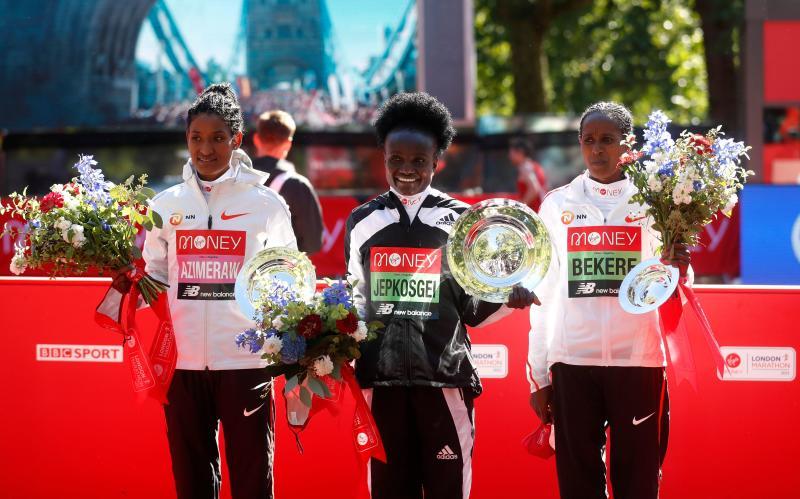 Kenya's Jepkosgei rules London Marathon as Kipchumba finishes second once again