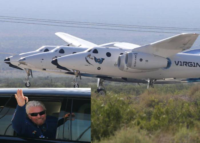 Richard Branson boards rocket plane for high-altitude space launch