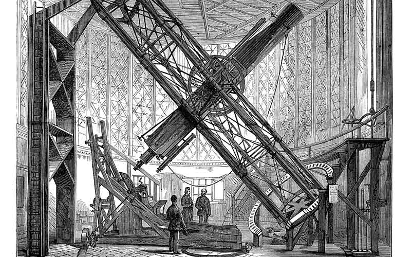 Vintage engraving showing the Great Equatorial Telescope, Greenwich Observatory 1878