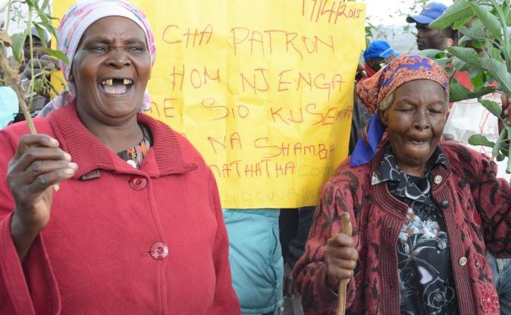 Families protest grabbing of 50 acres by developers