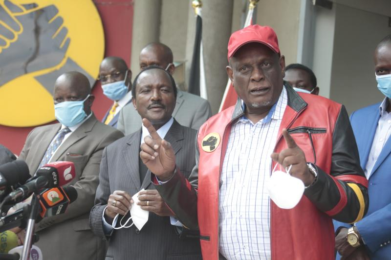 Chama Cha Mashinani(CCM) Party Leader Isaac Ruto and Wiper Party Leader Kalonzo Musyoka with Jubilee Party Vice Chairman David Murathe addressing the media during the Cooperation at Jubilee headquarte
