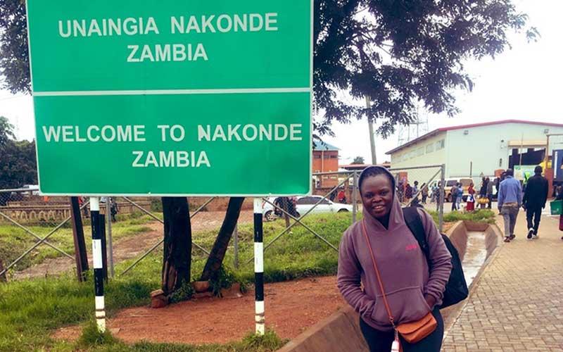 The writer at the Zambian border. [Courtesy]