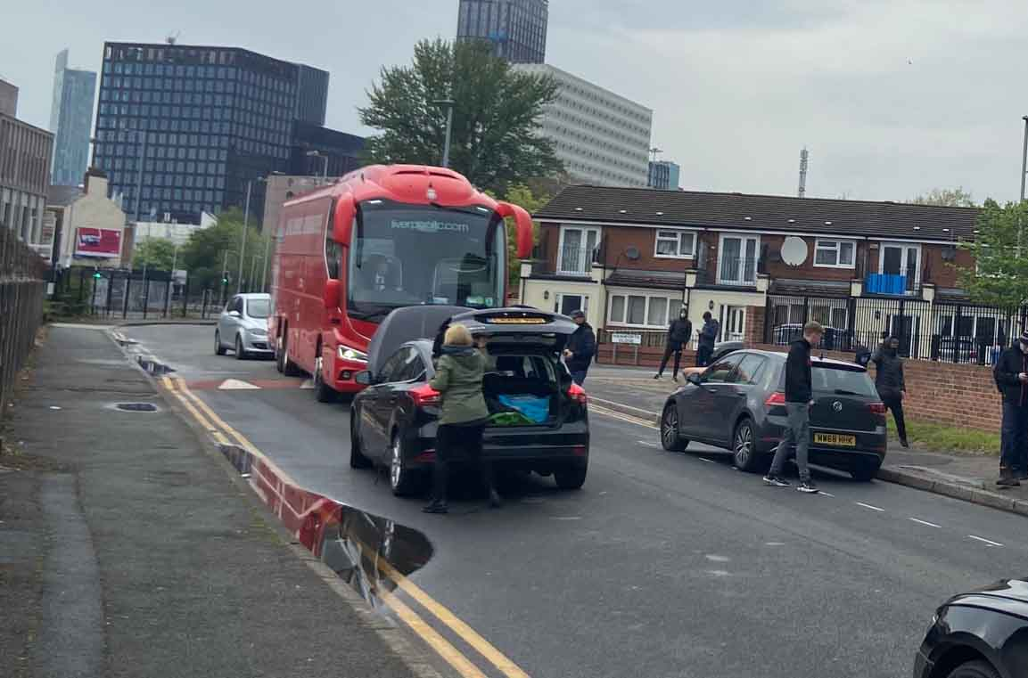 Liverpool team bus blocked en route to Old Trafford