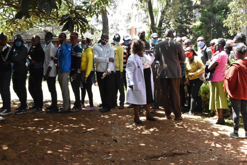 Members of the Public seeking covid-19 food handling certificate lining up to be tested at Northey Hospital along State House Road (Photo: Samson Wire)
