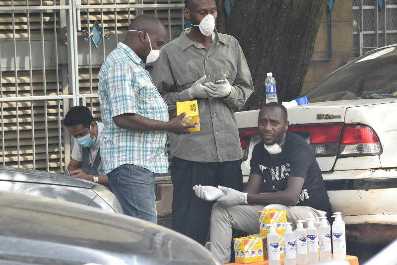 Hawkers selling Masks and sanitizers in the streets of Nairobi. (Photo: Samson Wire)