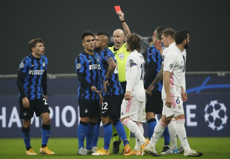 Real leave Inter close to Champions League exit after Vidal sees red