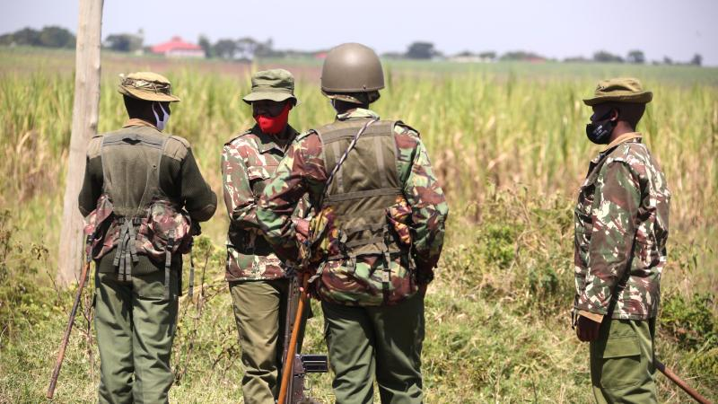 Police officers manning the Kisumu-Kericho border at Oyuma Center after ethnic clashes erupted between two communities leaving one person dead. (Photo: Collins Oduor)