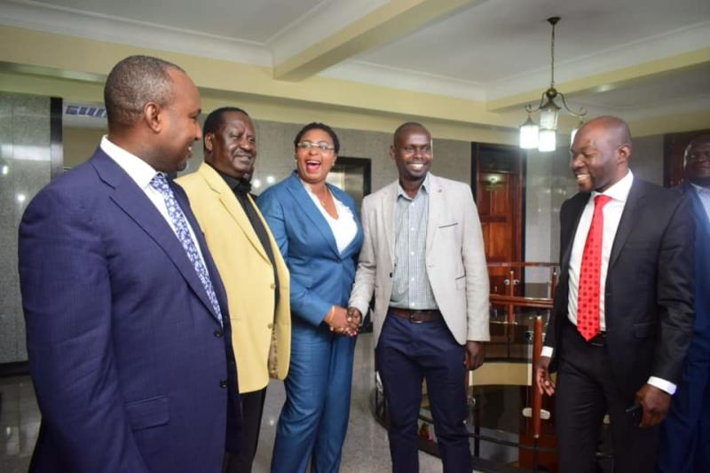Malindi MP Aisha Jumwa when she met ODM Party leader Raila Odinga and Imran Okoth after their Parliamentary Group meeting at County Hall, Nairobi (Photo: Boniface Okendo)
