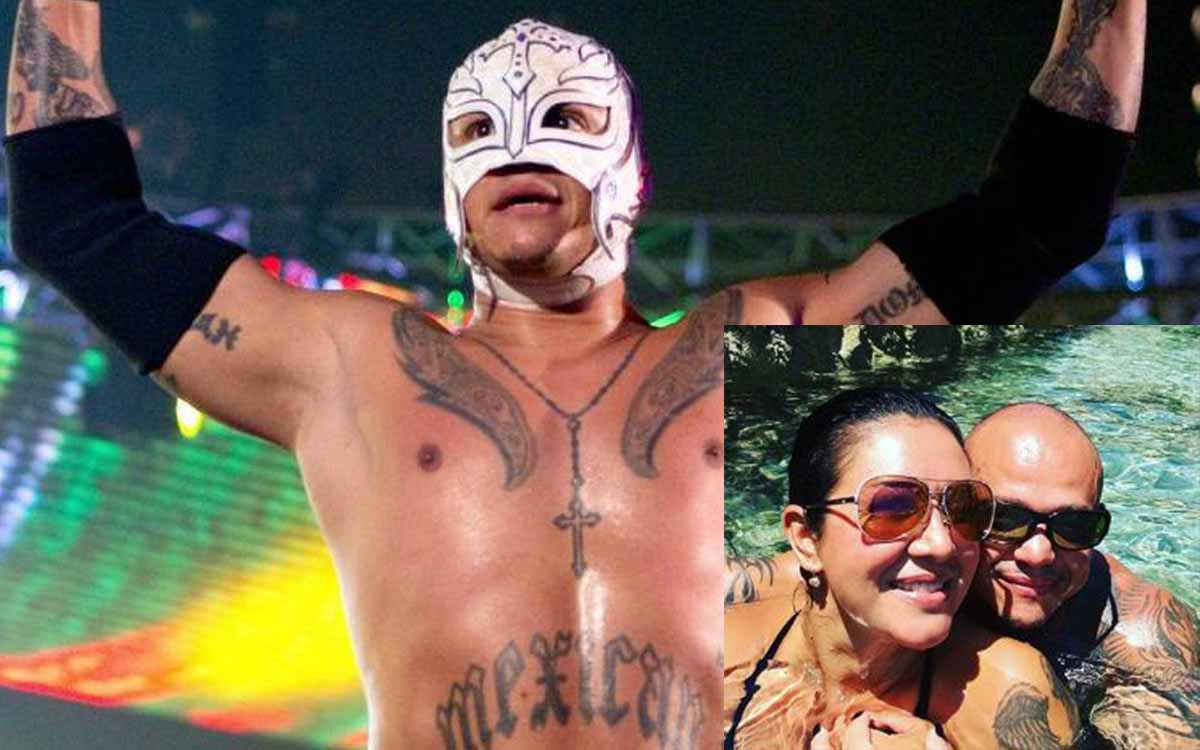 WWE star Rey Mysterio unmasks to pose for photo as he celebrates wife's birthday