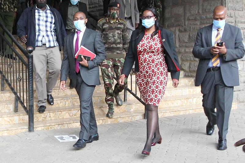 The Nairobi County Assembly Speaker Beatrice Elachi walks away after resigning from her position on Tuesday, August 11, 2020. (Photo: Jonah Onyango)