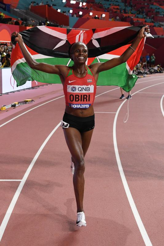Kenya's Hellen Obiri reacts after winning the Women's 5000m final at the 2019 IAAF Athletics World Championships in Doha. (Photo: AFP)