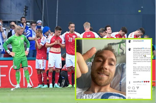 Eriksen sends first public message after suffering cardiac arrest at Euro 2020