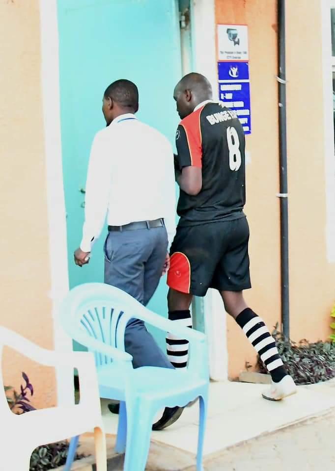 Elgeyo-Marakwet Senator Kipchumba Murkormen being taken to hospital after he suffered a dislocated shoulder during a friendly football match