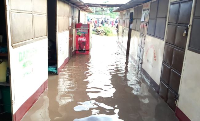 Some of the shops in Ahero Tow that are submerged in water after River Nyando burst its banks