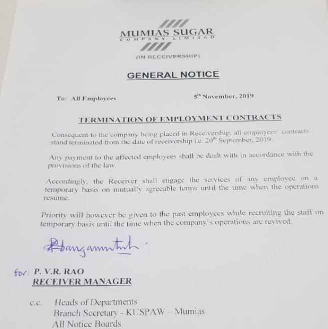 Mumias Sugar Company terminates all employees' contracts.