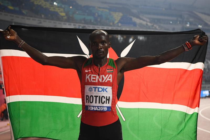 Kenya's Ferguson Cheruiyot Rotich celebrates bronze in the Men's 800m final at the 2019 IAAF Athletics World Championships in Doha (Photo: AFP)