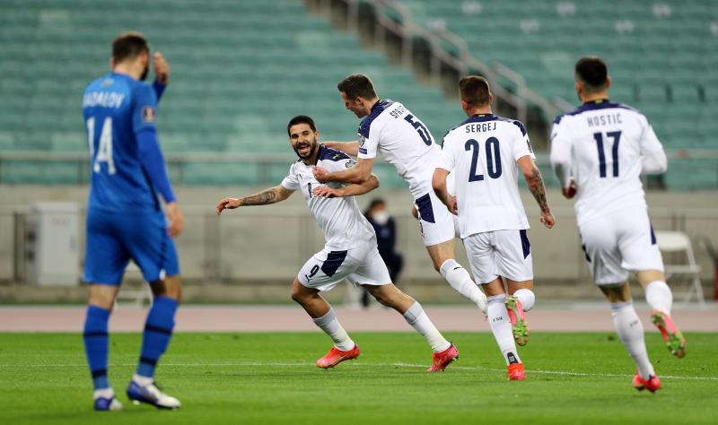 Mitrovic double gives Serbia 2-1 win at Azerbaijan