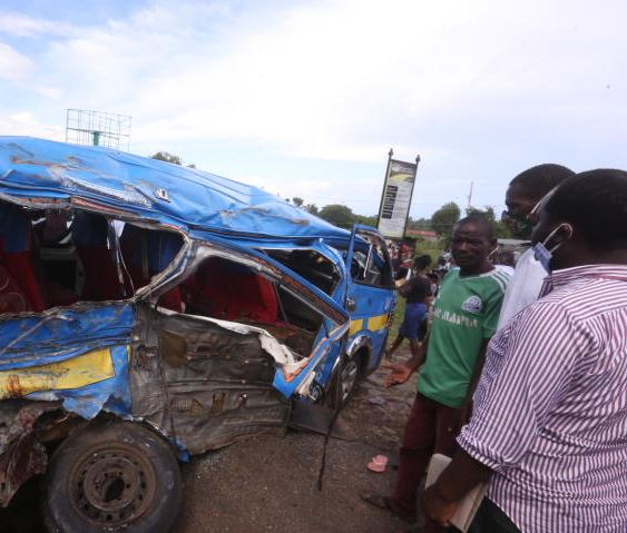 The wreckage of a matatu that was involved in a road accident with sugarcane truck and a private car at Kisian junction in Kisumu County (Photo: Collins Oduor)