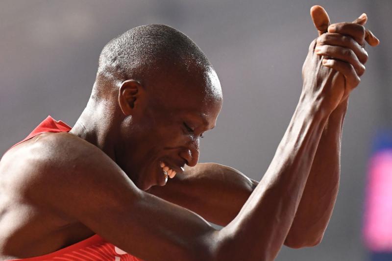 Kenya's Conseslus Kipruto (L) and Kenya's Benjamin Kigen complete the Men's 3000m steeplechase race heats at the 2019 IAAF Athletics World Championships in Doha. (Photo: AFP)