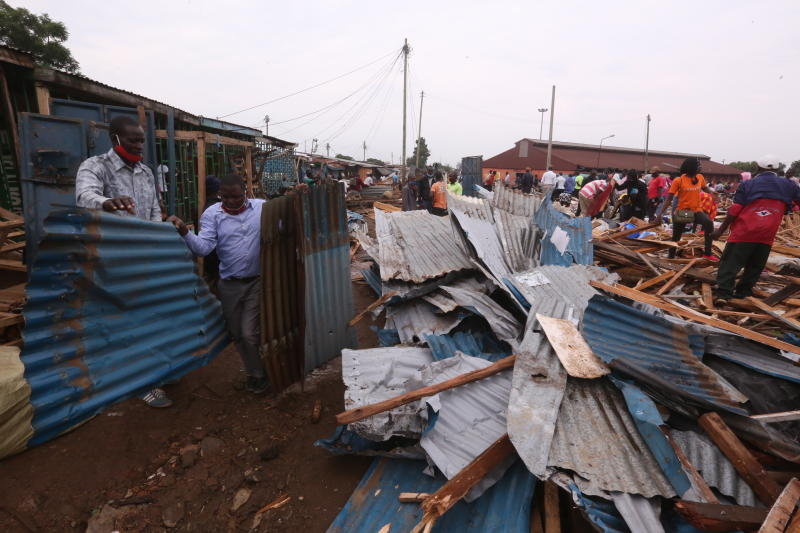 Traders salvage their property at the famous Kibuye market in Kisumu County, which is the largest open air market in East Africa. The market is set to undergo expansion and be re- built to ultra-moder