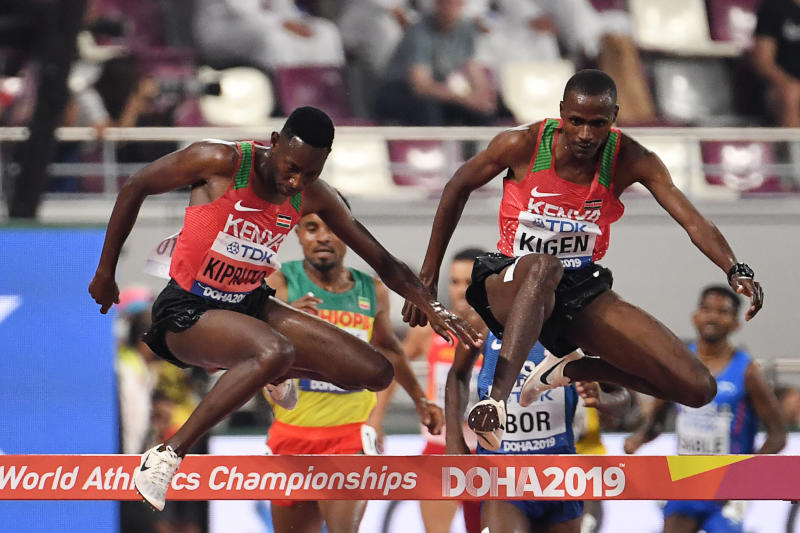 Kenya's Timothy Cheruiyot reacts after winning the Men's 1500m final at the 2019 IAAF Athletics World Championships in Doha. (Photo: AFP)