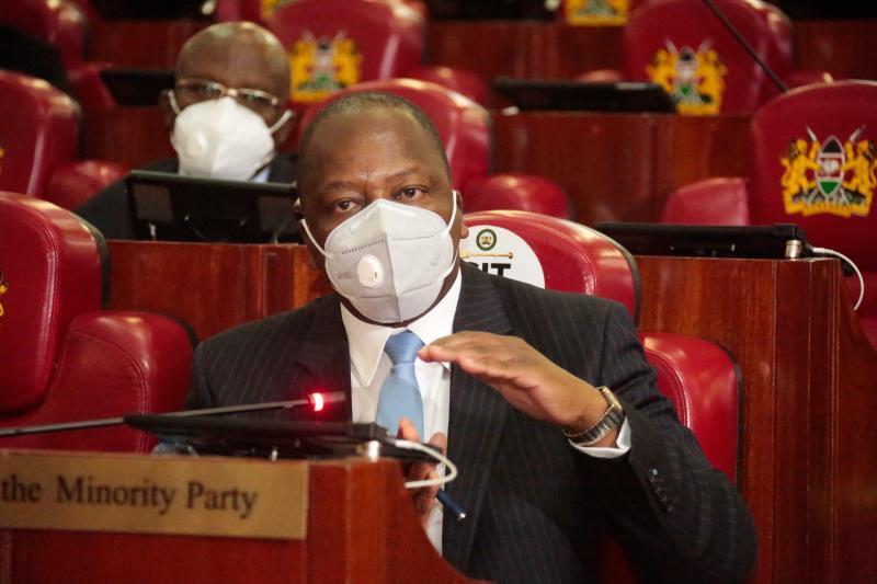 Health CS Mutahi Kagwe when he appeared before the National Assembly Health Committee over KEMSA tenders (Photo: Boniface Okendo)